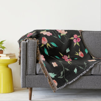 Throw Blanket Watercolor Flower Fields, Black