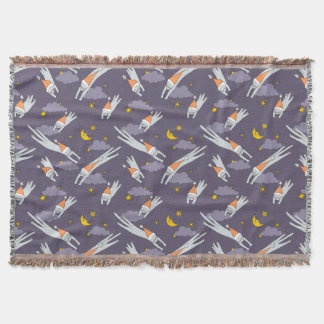 Throw blanket with flying sleeping kitties