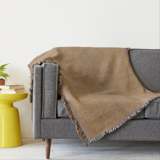 Throw Blanket with natural brown rustic canvas