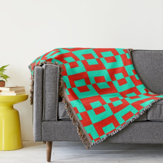 Throw Blanket with Turquoise&Red Tiles Design