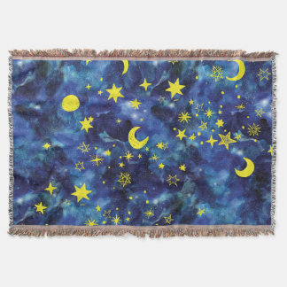 Throw Blanket Yellow Stars In Universe