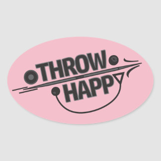 Throw Happy Shot Put Discus Throw Stickers! Oval Sticker