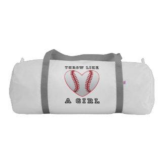 Throw like a girl softball gym bag
