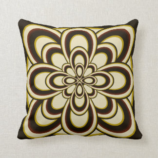 Throw Pillow, Abstract Flower 2, Brown Olive Green Throw Pillow
