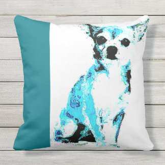 Throw Pillow Blue Chihuahua (of 4 colors)