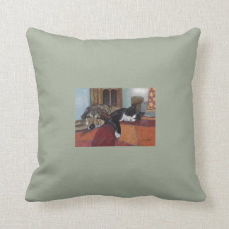 "Throw pillow cat and dog pets, ""cozy companions"""