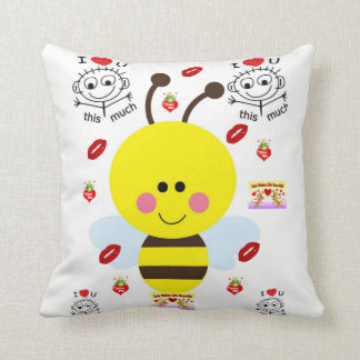 throw pillow decore vintage valentines bumblebee