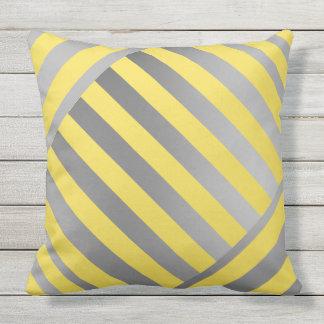 Throw Pillow-Design in yellow & gray stripes Outdoor Pillow