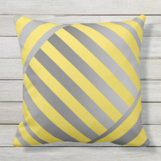 Throw Pillow-Design in yellow & grey stripes Outdoor Pillow