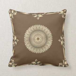 Throw Pillow- Elegant design in brown and gold Throw Pillow