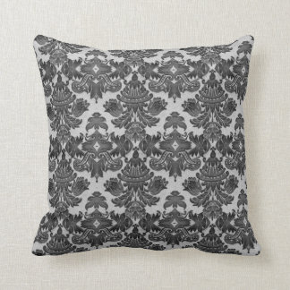 Throw Pillow in Black and Gray Damask