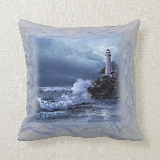 Throw pillow,Lighthouse at Moonlight Throw Pillow