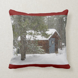 Throw Pillow; Nana's Shed. Dark Red Throw Pillow