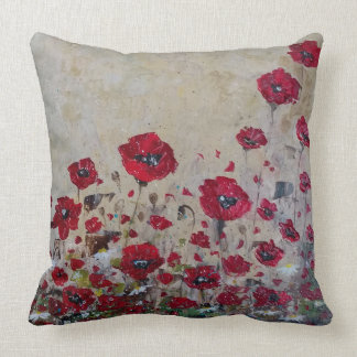 Throw Pillow red Poppies