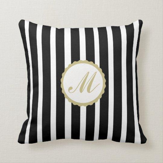 Throw Pillow Striped Black White Gold Monogram