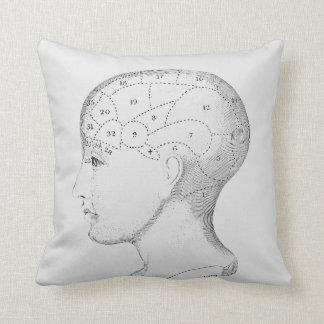 Throw Pillow Vintage Human Head illustration