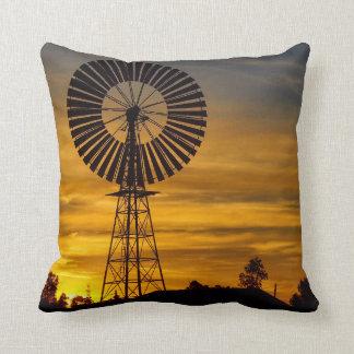 Throw pillow - windmill sunset