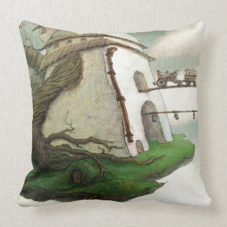 Throw Pillow with a magic flying island.