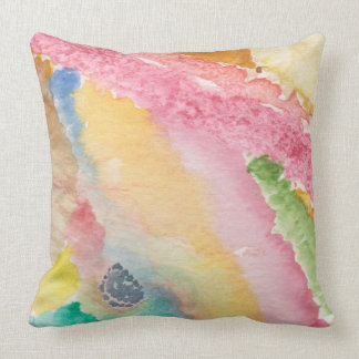 throw pillow with abstract design & pink on back