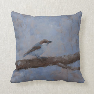 Throw Pillow with Brown-Headed Nuthatch