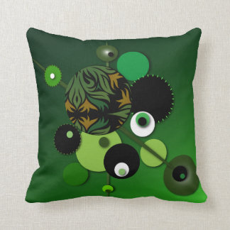 "Throw Pillow with ""Circles Green Olive"" Design"