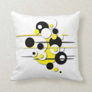"Throw Pillow with ""Circles Yellow"" Design"