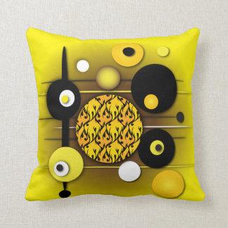 "Throw Pillow with ""Circles Yellow Jacket"" Design"