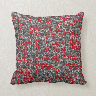 "Throw Pillow with ""Gradient Stars on Red Stripes"""