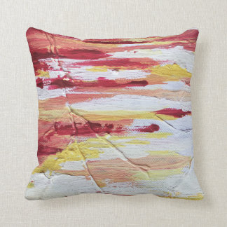 Throw pillow with painted artwork