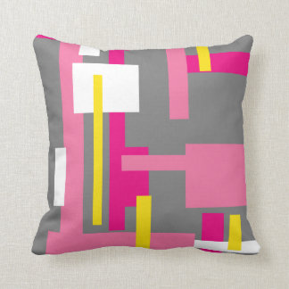 "Throw Pillow with ""Pink and Grey Blocks"" design"