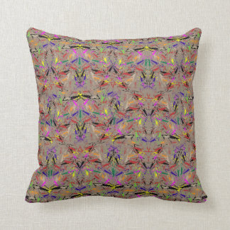 "Throw Pillow with ""Praying Mantis Amok"" Design"