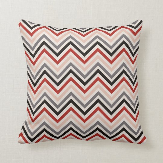 Throw Pillow with red black grey chevron pattern