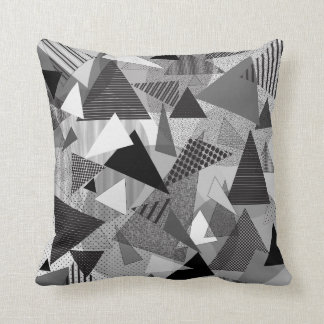 "Throw Pillow with ""Triangles BGW"" design"