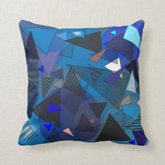 """Throw Pillow with """"Triangles Denim"""" design"""