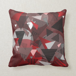 "Throw Pillow with ""Triangles Garnet"" design"