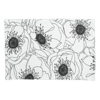 Throwback 1980s Black and White Poppy Print Pillowcase