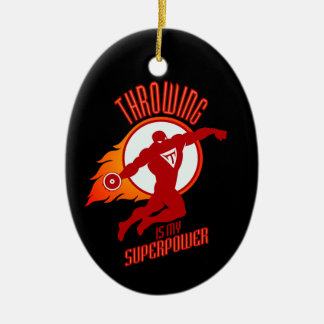throwing discus is my superpower ceramic oval ornament