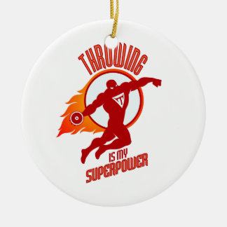 throwing discus is my superpower round ceramic ornament