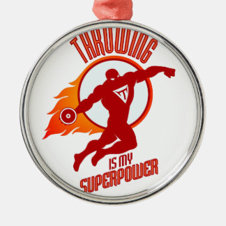 throwing discus is my superpower Silver-Colored round ornament