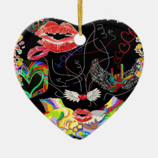 Throwing Kisses and I LOVE Yous Ceramic Heart Ornament