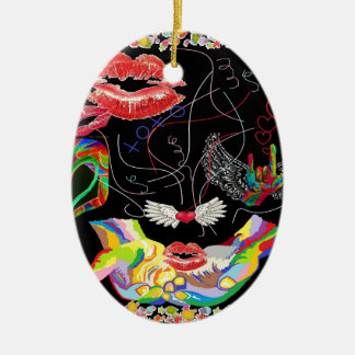 Throwing Kisses and I LOVE Yous Ceramic Oval Ornament