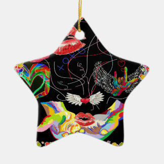 Throwing Kisses and I LOVE Yous Ceramic Star Ornament