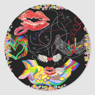 Throwing Kisses and I LOVE Yous Round Sticker