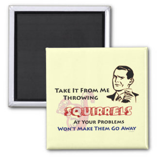 Throwing Squirrels Retro Humor Refrigerator Magnet