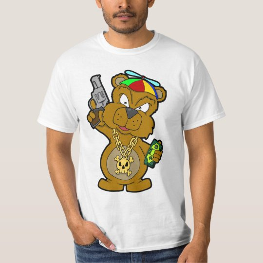 THUG BEAR STREET GAME BLING CASH GUNS CHAOS T-Shirt