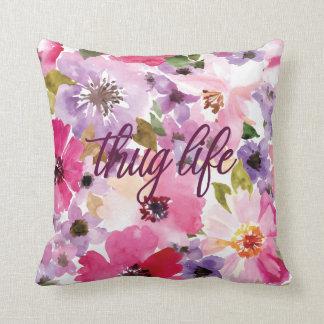 Thug Life Floral Pillow