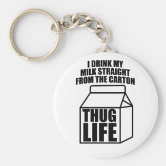 Thug Life Milk Carton Basic Round Button Keychain