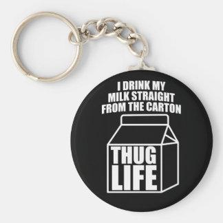 Thug Life Milk Carton (dark) Basic Round Button Keychain