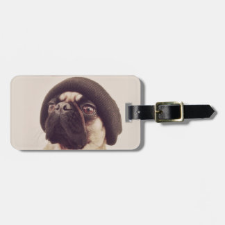 Thug Pug with hat design Luggage Tag