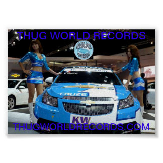 thug world records car models in blue poster